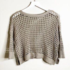 Express Tan Metallic Open Knit Sweater Top